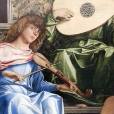 musizierende Engel auf einem Bild des Malers Giovanni Bellini (Akademie)