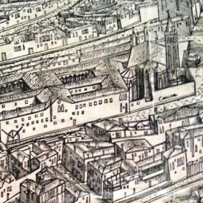 Kirche und Kloster Santa Maria della Carita auf dem Druck des Jacopo de Barbari