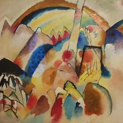 Kandinsky, Landschaft mit rotem Punkt, 1913
