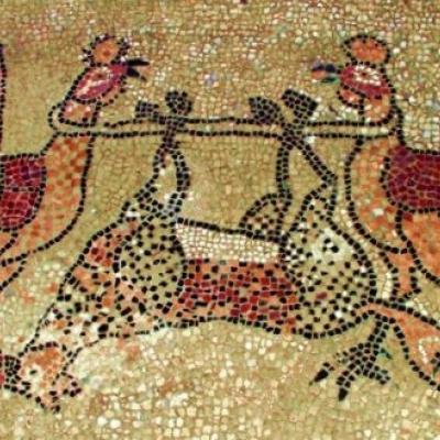 die Hähne haben den Fuchs besiegt, Fußbodenmosaik in der Kirche Santa Maria e Donato auf Murano