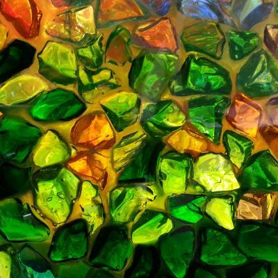 bunte Glassteine im Taufbecken von Santa Maria und Donato auf Murano