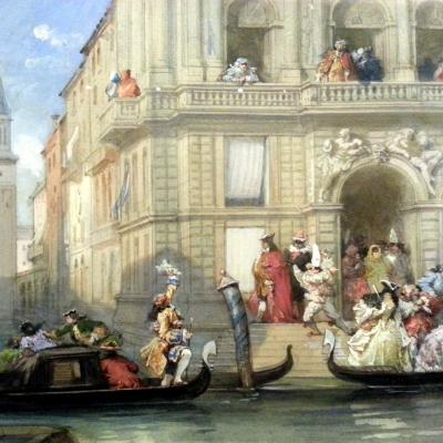 Gondeln auf dem Canal Grande vor einem Palast