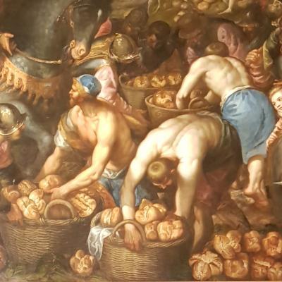 Brötschen auf einem Schlachtenbild im Dogenpalast
