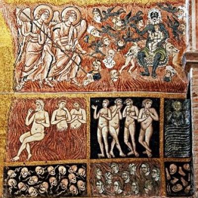 die sieben Todsünden auf dem Weltengerichtsmosaik in der Kirche Santa Maria Assunta auf Torcello