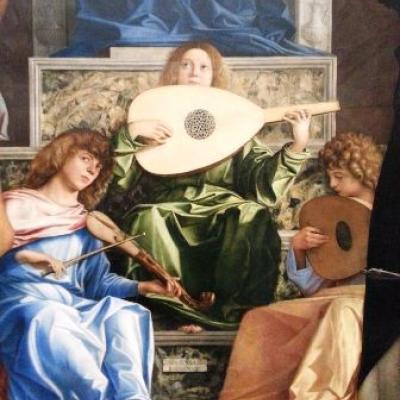 Giovanni Bellini, angeli suonatori sulla Pala di San Giobbe