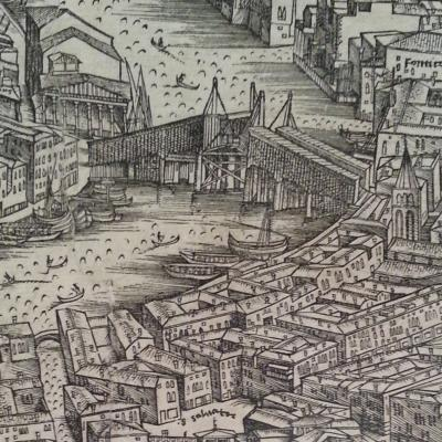 Print of old Rialto Bridge, 1500