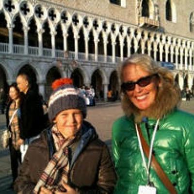 guida turistica Susanne Kunz Saponaro con un giovane cliente